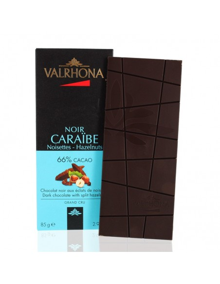 Chocolat Noir Caraïbe Noisettes 66% cacao - Valrhona