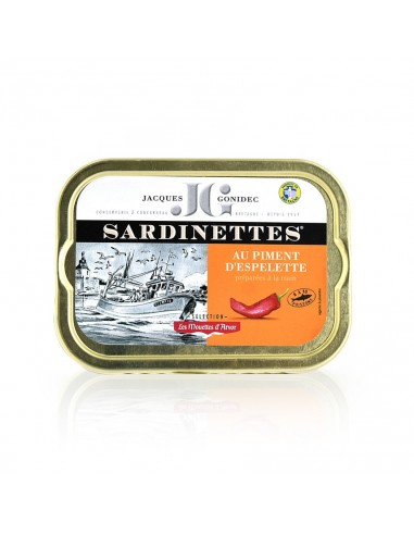 Sardines à l'huile d'olive vierge extra et au piment d'espelette