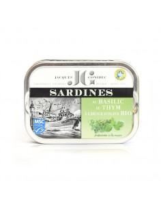 Sardines au basilic et au thym à l'huile d'olive BIO