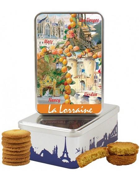 Boîte à sucre en fer La Lorraine garnie de biscuits