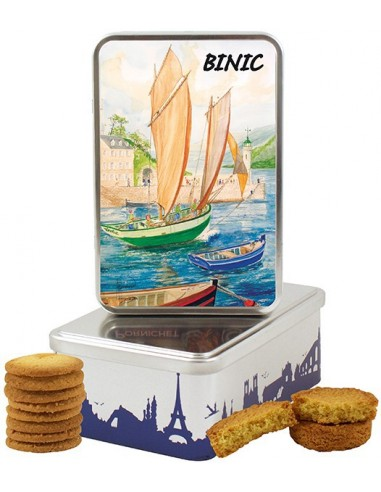 Boîte à sucre en fer Binic garnie de biscuits