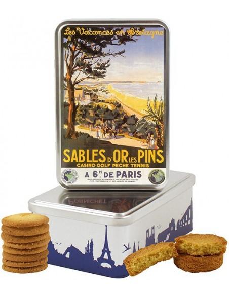 Boîte à sucre en fer Sables d'Or les Pins, casino, golf, pêche garnie de biscuits