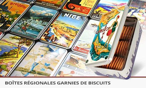 boites régionales garnies de biscuits et décorée de visuels vintages de vos régions.